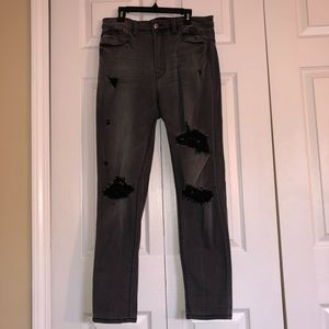 Fashion Nova black/gray distressed jeans